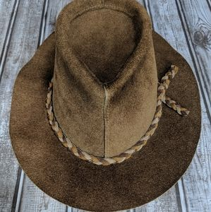 Awesome hippie boho leather hat. Vintage